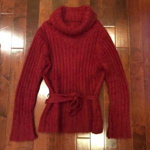 I.N.C. Cowl Turtle Neck Tie Waist Sweater Medium